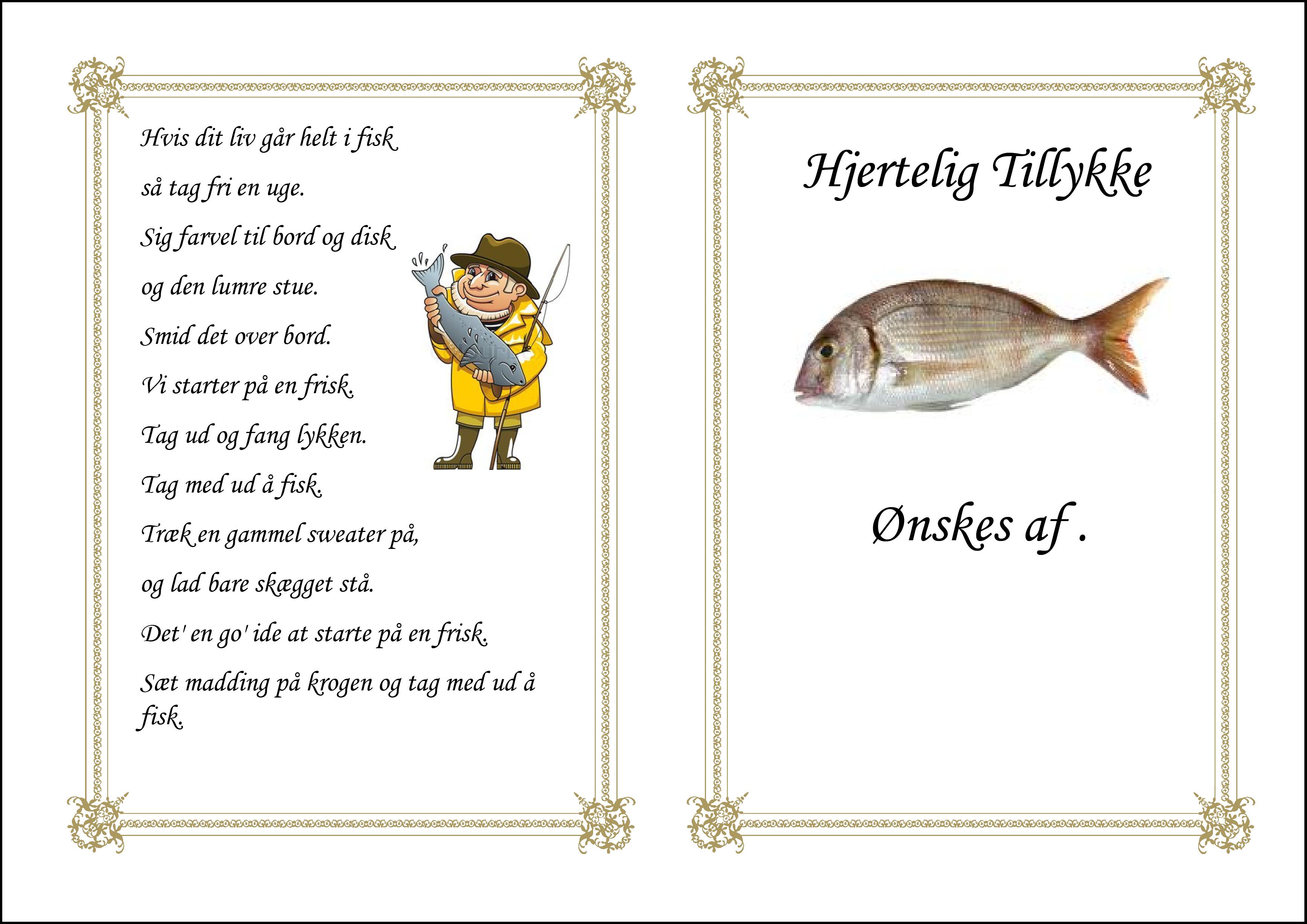 Tillykke telegram Fisk på krog