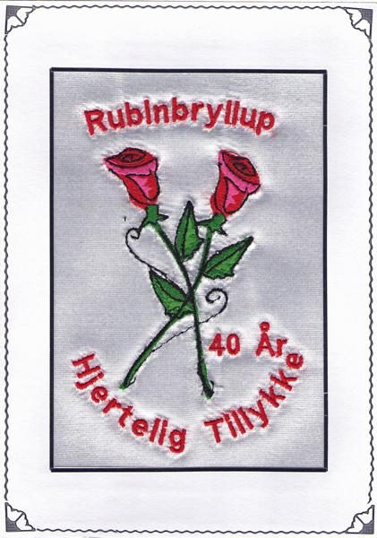 Rubinbryllup telegram røde roser